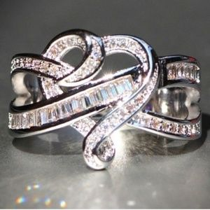 Heart Infinity Baguette CZ White Gold Filled New